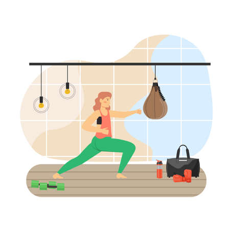 Sport and fitness activities. Young woman doing tae bo aerobic exercises, flat vector illustration. Tae bo gym workout.