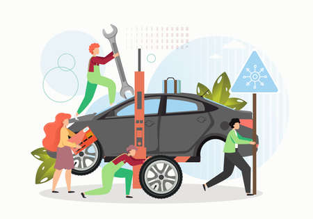 Tire change and car repair services. Mechanic cartoon characters replacing winter tires, flat vector illustration.