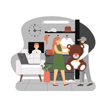 Happy woman staying home in quarantine receiving gift from her boyfriend sending it online, flat vector illustration.