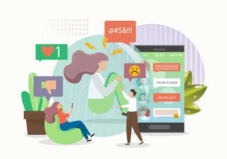 Teens, peers experiencing cyberbullying on social media as victims, perpetrators, flat vector illustration. Online abuse Çizim