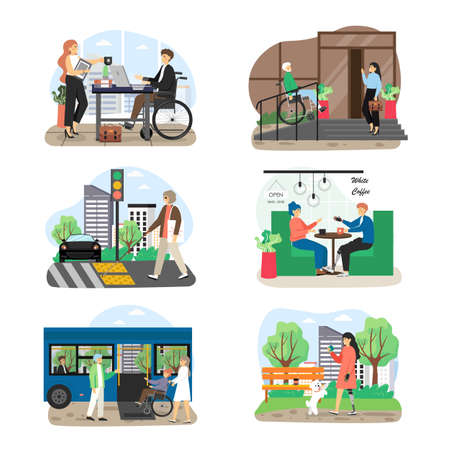 People with disabilities, visual impairment cartoon character set, flat vector illustration. Disabled people lifestyles.