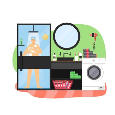 Daily life, morning routine. Young man taking shower in bathroom, flat vector illustration.