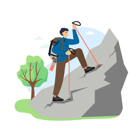 Hiking scene, flat vector illustration. Climber, hiker male character with backpack climbing the rock. Mountain tourism