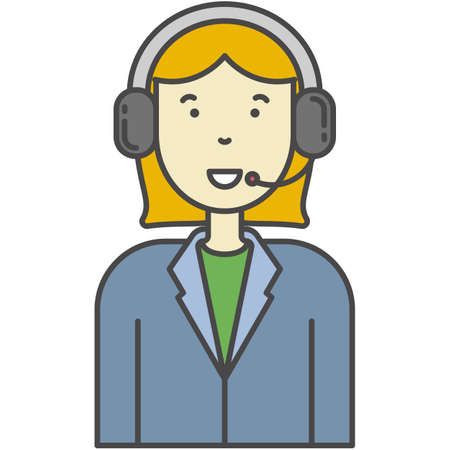 Call-centre or technical support operator vector icon