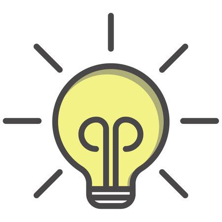 Idea lamp and creative thinking design flat vector icon