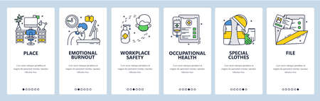 Workplace safety, protective clothes, occupational health. Mobile app onboarding screens, vector website banner template
