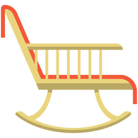Rocking chair icon, flat vector isolated illustration. Comfortable wooden chair, home living room furniture. Illusztráció