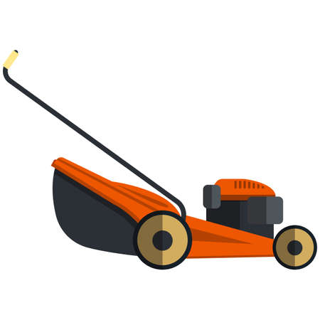 Lawn mower icon, flat vector isolated illustration. Grass cutter. Gardening equipment.
