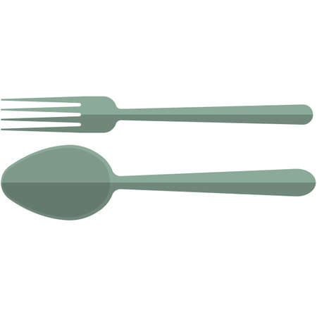 Fork and spoon icons, flat vector isolated illustration.