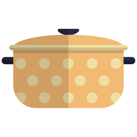 Cooking pot icon, flat vector isolated illustration. Kitchen cooking utensils. Kitchenware. Cookware.