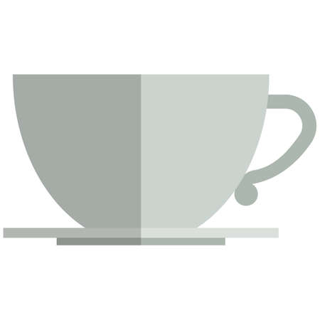 Tea cup icon, flat vector isolated illustration. Coffee cup with saucer.