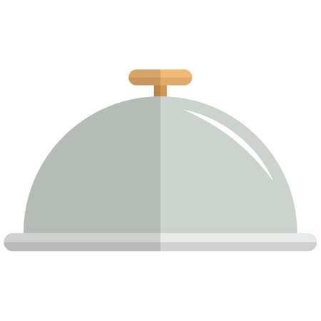 Silver platter icon, flat vector isolated illustration. Restaurant cloche, waiter tray with dome lid.