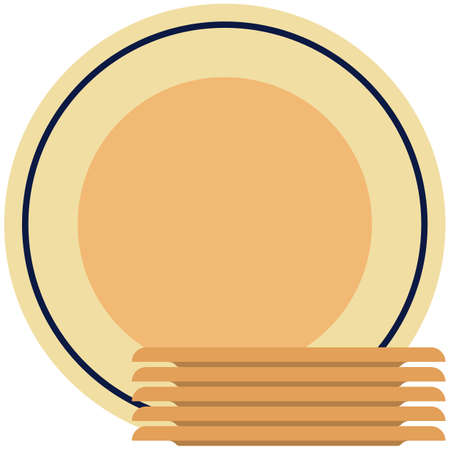Dinner plate icons, flat vector isolated illustration. Tableware, dinnerware, crockery. 矢量图像