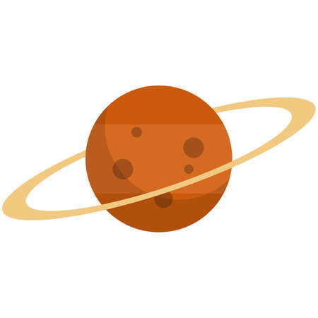 Saturn planet icon, flat vector isolated illustration. Astronomy. Cosmos investigation, space exploration.