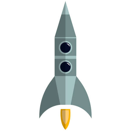 Space rocket icon, flat vector isolated illustration. Business project start up, spaceship travel, spacecraft launch.