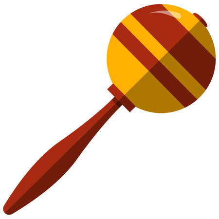 Maraca, music icon, flat vector isolated illustration. Percussion musical instrument.