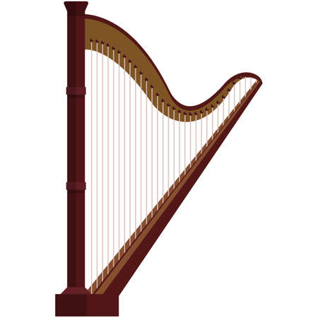Harp, music icon, flat vector isolated illustration. String musical instrument.
