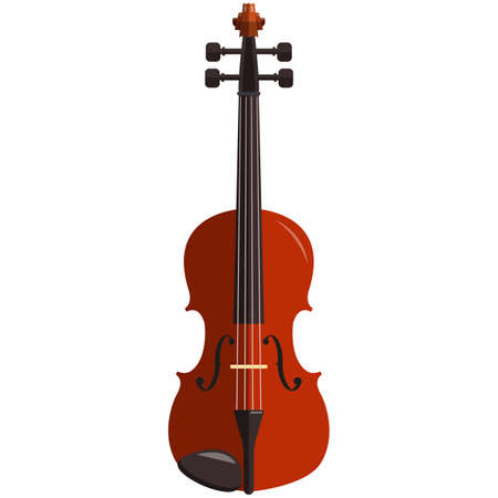Violin, music icon, flat vector isolated illustration. String musical instrument.