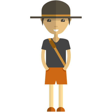 Young man cartoon character wearing summer clothes, flat vector isolated illustration. Hipster boy, tourist, traveler.