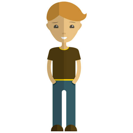 Young man cartoon character, flat vector isolated illustration. Hipster boy, teenage guy, student, male fashion model.