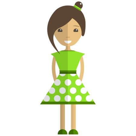 Cute girl cartoon character wearing green summer dress flat vector isolated illustration. Pretty young woman, model.