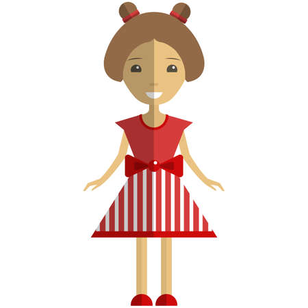 Cute girl cartoon character wearing red summer dress flat vector isolated illustration. Pretty young woman, model.