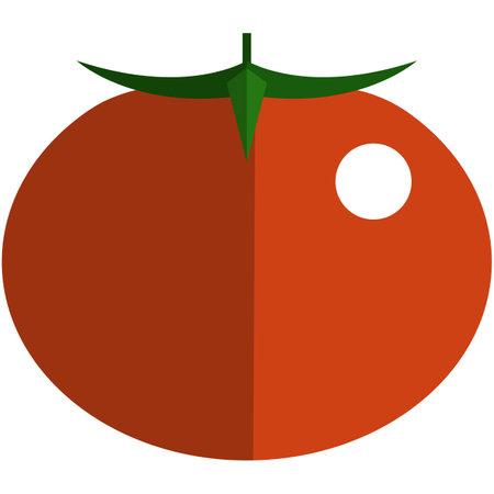 Red tomato icon, flat vector isolated illustration. Farm fresh fruit. Healthy food. 矢量图像