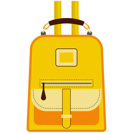 Female leather backpack isolated on white background