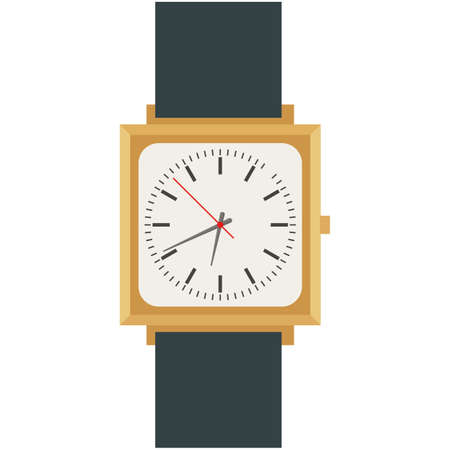 Male wrist watch with square analog dial vector isolated