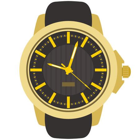 Fashion self-winding quartz watch vector isolated on white 矢量图像
