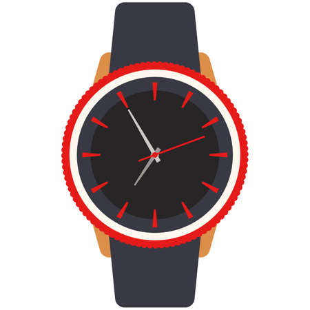 Trendy fashion wristwatch accessory isolated flat vector