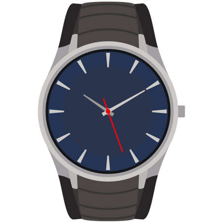 Quartz wristwatch accessory with steel strap vector