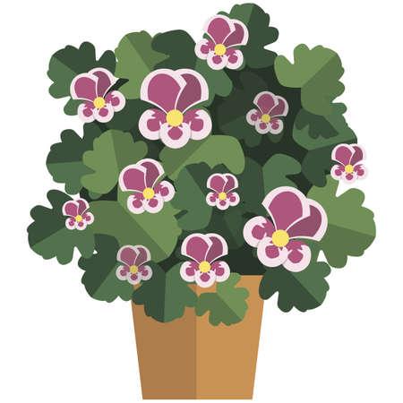 Beautiful flourishing flower in pot flat vector 矢量图像