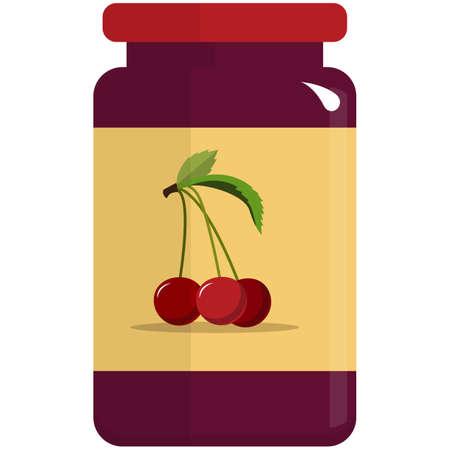 Cherry jam preserve in glass jar flat vector isolated on white 矢量图像