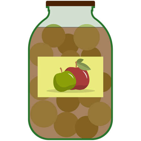 Apple preserve in glass jar flat vector isolated on white 矢量图像
