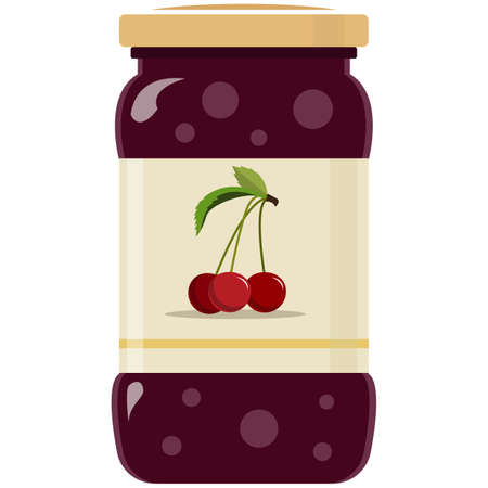 Glass jar of preserved cherry jam flat vector isolated on white