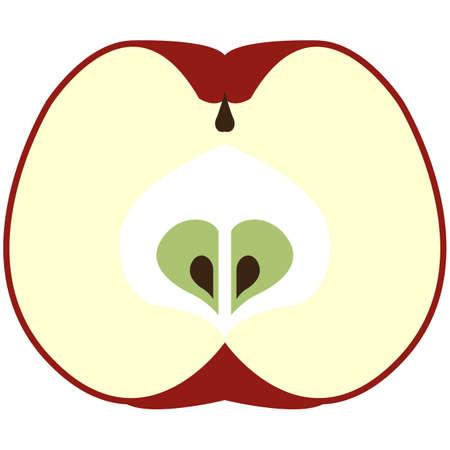Fresh apple fruit half cut flat vector isolated on white 矢量图像