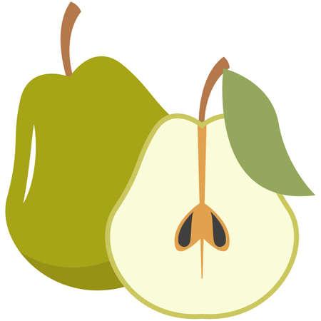 Fresh pear fruit whole and half cut flat vector