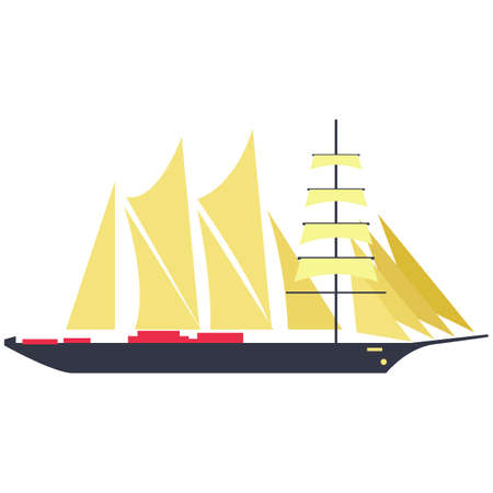 Frigate sailing ship vector isolated on white background Vecteurs