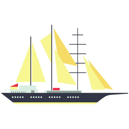 Schooner ship flat vector isolated on white background