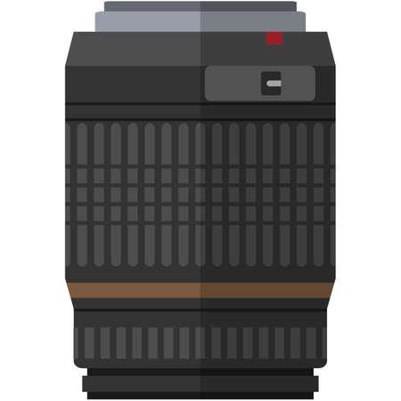 Professional camera narrow-angle lens isolated vector on white Vektoros illusztráció