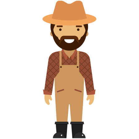 Farmer flat vector icon isolated on white background