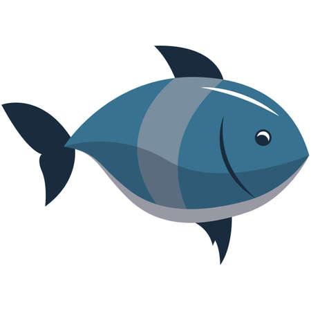 Vector fish sea dweller illustration isolated on white