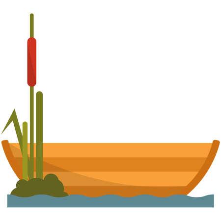 Fisherman boat on lake or river vector illustration on white