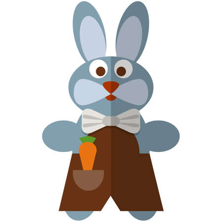 Toy hare puppet vector isolated on white background