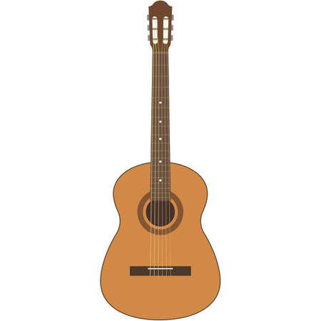 Vector guitar illustration acoustic music instrument on white