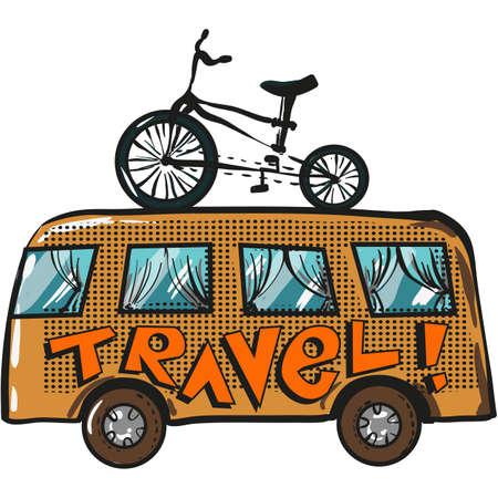 Vector travel bus pop art cartoon icon illustration