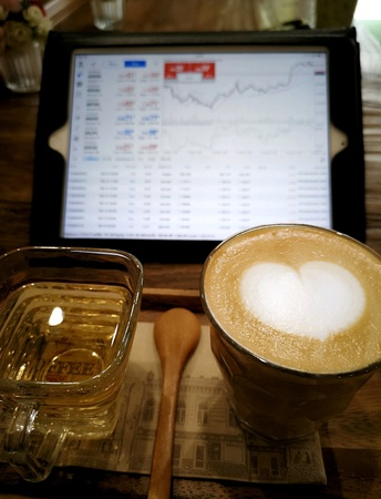 Drink coffee during trade forex, This is my life Stock fotó