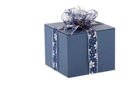 festively: Present wrapped up festively, blue paper