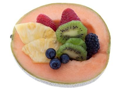Net melon halved stuffedly fruits photo